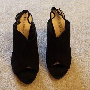 Via Spiga suede black slingback heels 42/10.5